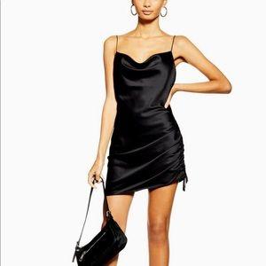 Topshop Black Satin Dress